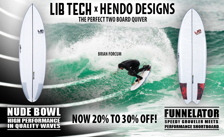 Lib Tech surf Nude Bowl and Funnelator surfboards