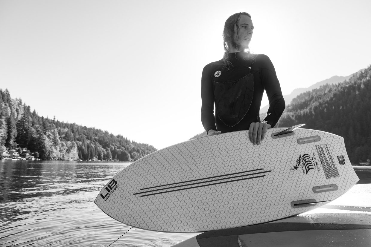 Lib Tech Wakesurf Aaron Witherell with his Air'n pro model