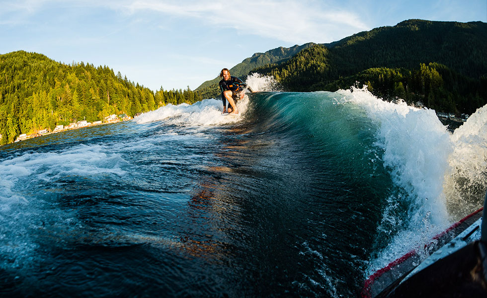 Aaron Witherall on the Lib Tech Yachtsea Wakesurf