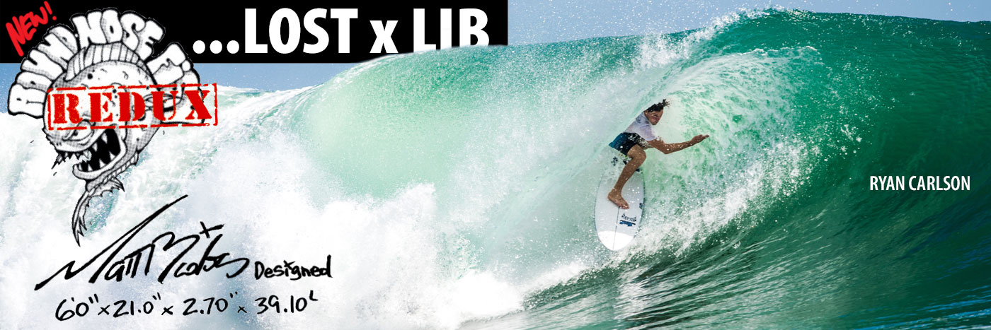 Lib X Lost Round Nose Fish surfboard